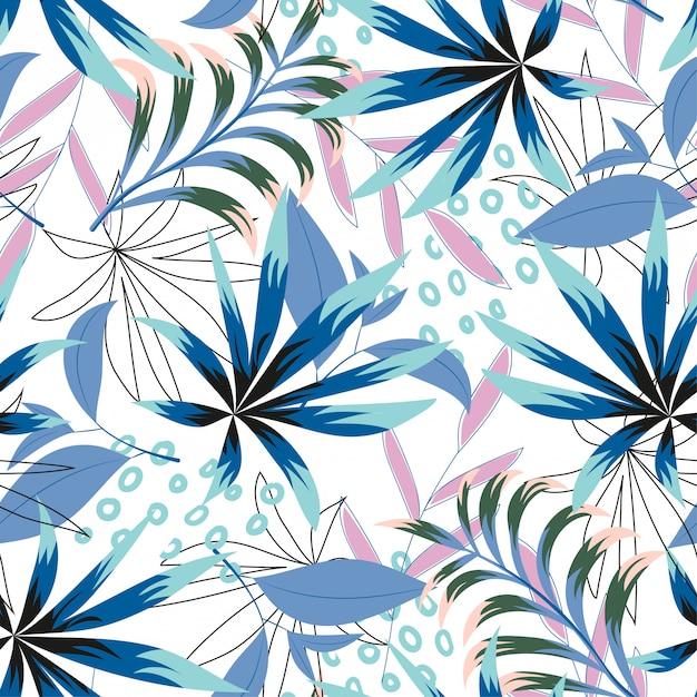 Resumo padrão sem emenda tropical com folhas brilhantes e plantas sobre um fundo claro Vetor Premium