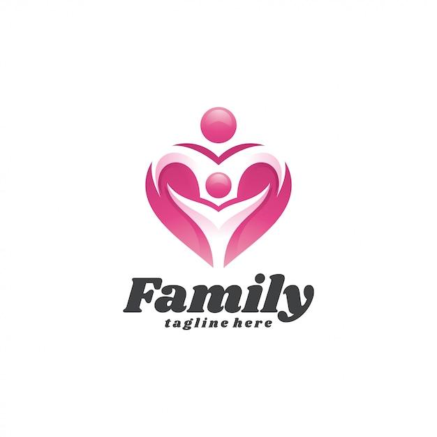Resumo pessoas criança família e amor coração logotipo Vetor Premium
