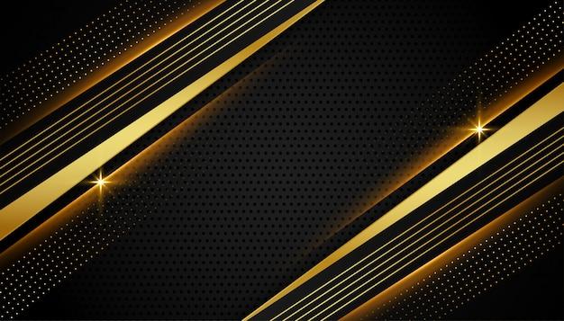Resumo preto e dourado linear elegante Vetor grátis