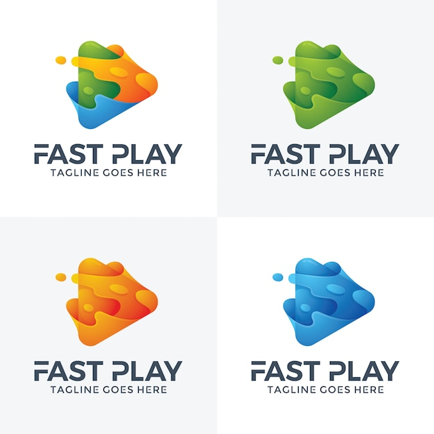 Resumo rápido jogar logo design. Vetor Premium