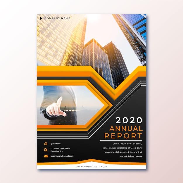 Resumo relatório anual com modelo de foto Vetor grátis
