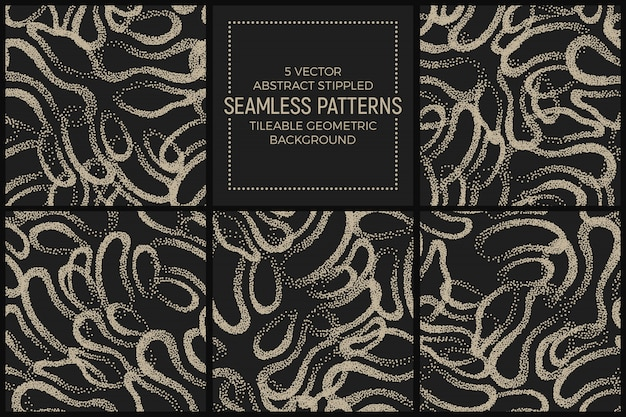 Resumo stippled seamless patterns vector set Vetor Premium
