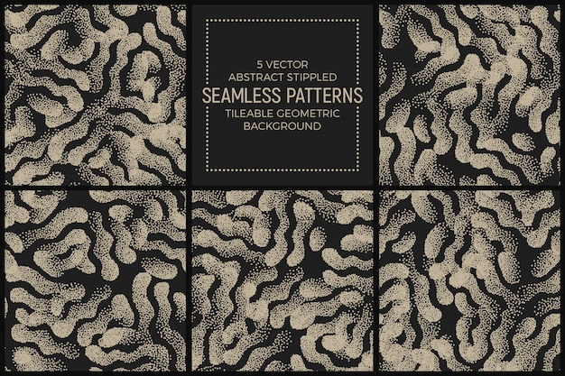 Resumo stippled seamless patterns vector set Vetor Premium