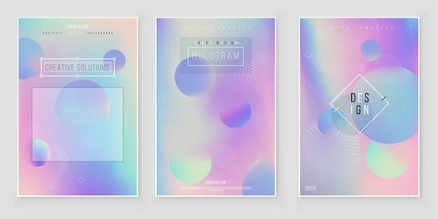 Resumo turva conjunto de fundo gradiente holográfico design minimalista moderno Vetor Premium