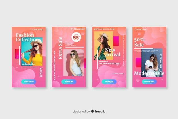 Resumo venda colorida instagram histórias com foto Vetor grátis