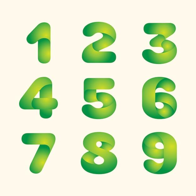 Resumo verde deixa eco fonte conjunto de números Vetor Premium