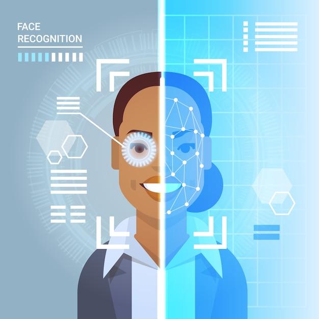 Retina do olho da varredura do sistema do reconhecimento da cara da identificação moderna da mulher de negócio do americano africano Vetor Premium