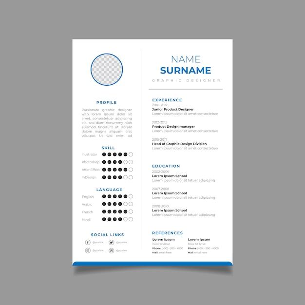 Retomar modelo de design cv minimalista. vetor de layout de negócios para pedidos de emprego. Vetor Premium