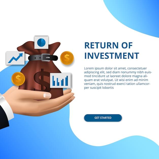 Retorno do conceito de investimento negócios finanças crescimento seta sucesso Vetor Premium