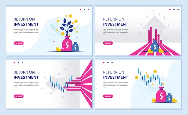 Retorno do investimento, gráfico de roi e página de destino do gráfico Vetor Premium