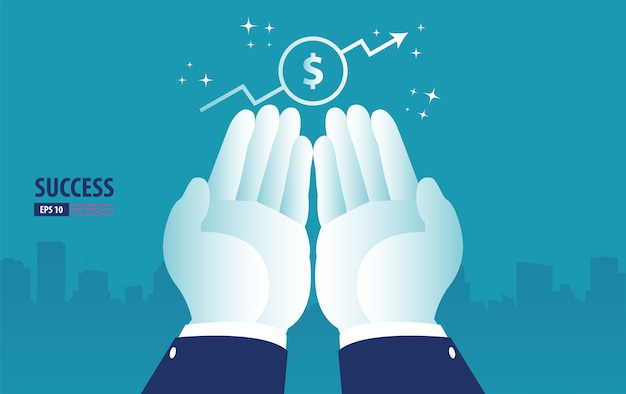 Retorno do investimento, gráfico e roi, negócios, lucro e sucesso disponíveis. ilustração em vetor negócios Vetor Premium