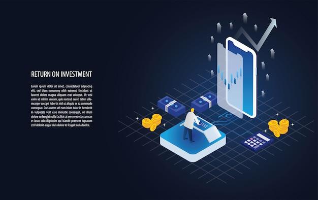 Retorno isométrico do investimento gráfico e gráfico de roi em um smartphone Vetor Premium