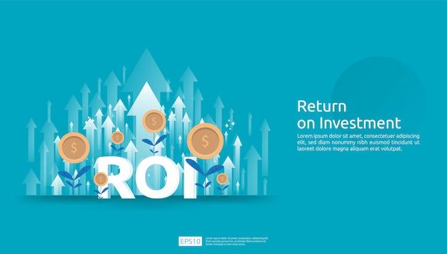 Retorno sobre o investimento, conceito de oportunidade de lucro. setas de crescimento de negócios para o sucesso. texto de roi com sucesso seta gráfico gráfico aumentar e crescer planta de moedas de dólar. Vetor Premium