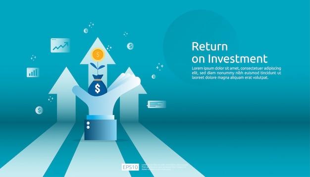 Retorno sobre o investimento roi, conceito de oportunidade de lucro. setas de crescimento de negócios para o sucesso. seta com moedas de planta do dólar, aumento de gráfico e gráfico. Vetor Premium