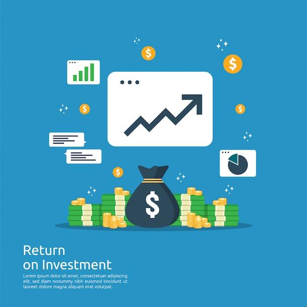 Retorno sobre o investimento roi conceito. setas de crescimento de negócios para o sucesso. pilha de dólar pilha moedas e bolsa de dinheiro. gráfico aumentar lucro. finanças, estendendo-se. Vetor Premium