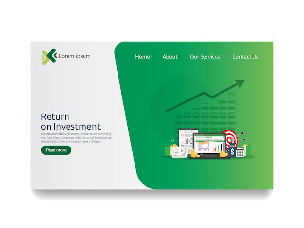 Retorno sobre o investimento roi e página analítica de dados de seo Vetor Premium