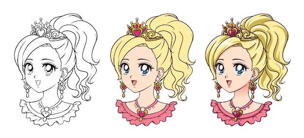 Retrato bonito da princesa do anime. Vetor Premium