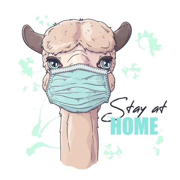 Retrato da linda alpaca com máscara médica Vetor Premium