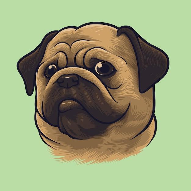 Retrato de cachorro pug Vetor Premium