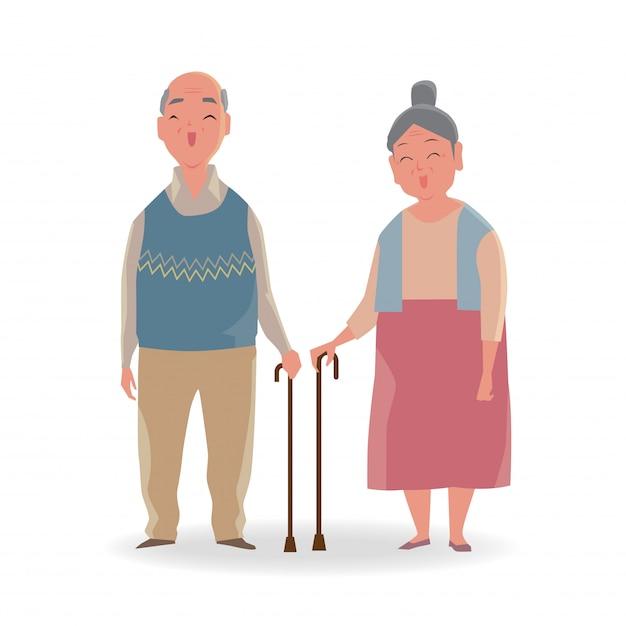 Retrato de casal sênior com um bengala andando sorrindo isolado no fundo branco. Vetor Premium