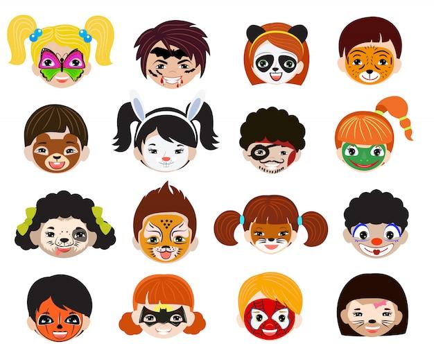 Retrato de crianças de pintura de rosto com maquiagem pintada facial e conjunto de ilustração de personagem menina menino de animalista facepaint gato cachorro e pirata para festa de halloween, isolada no fundo branco Vetor Premium