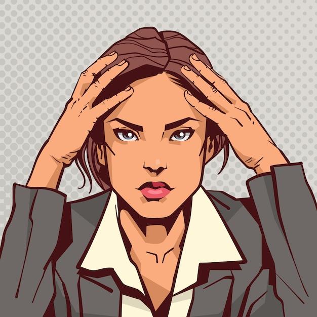 Retrato, de, deprimido, cansado, mulher negócio, sobre, pop arte, vindima Vetor Premium