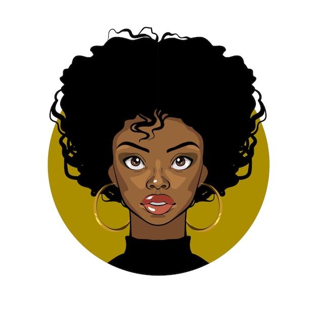 Retrato de desenho animado de uma garota afro-americana com cabelos cacheados, olhos grandes e brincos de ouro Vetor Premium