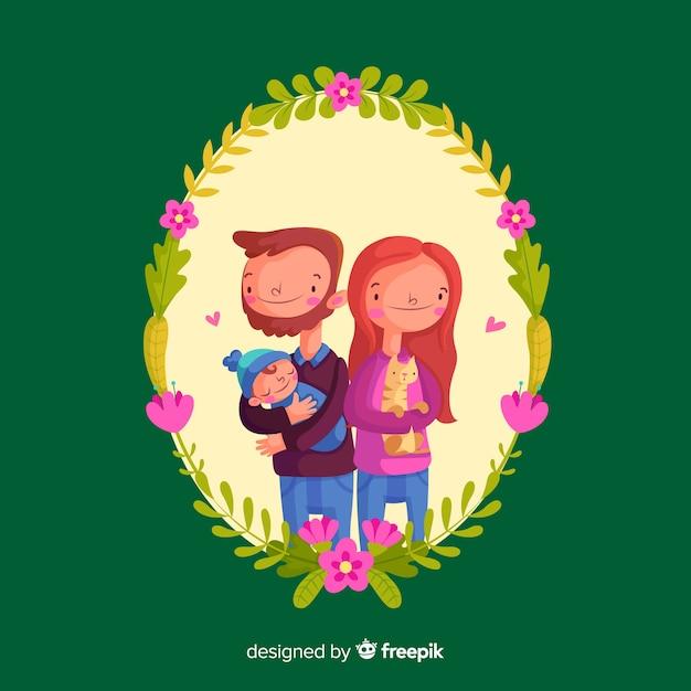 Retrato de família desenhada de mão com moldura floral Vetor grátis