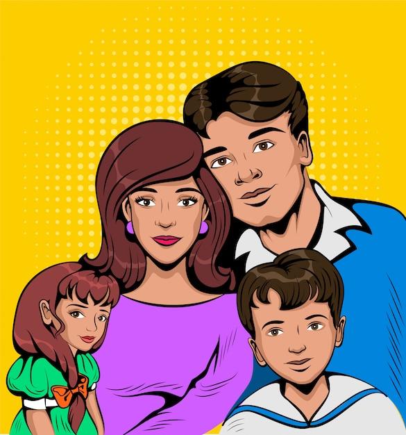 Retrato de família e crianças jovens Vetor Premium