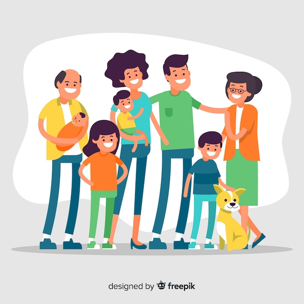 Retrato de família grande mão desenhada Vetor grátis