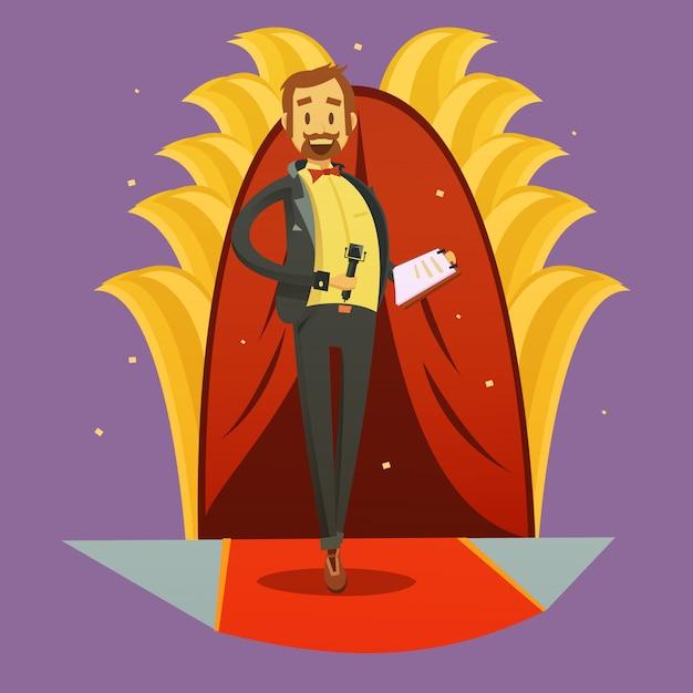 Retrato de jornalista cartoon retrô levantar e ilustração em vetor estilo discurso humorístico Vetor grátis