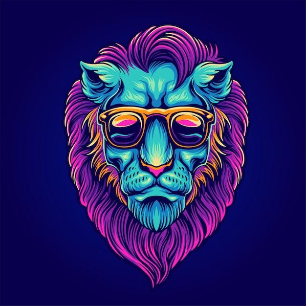 Retrato de leão com óculos de sol Vetor Premium
