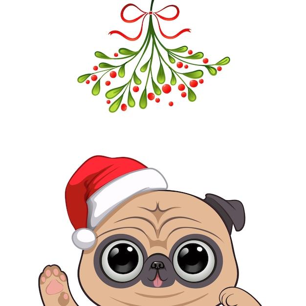 Retrato de natal de personagem cachorro fofo Vetor Premium