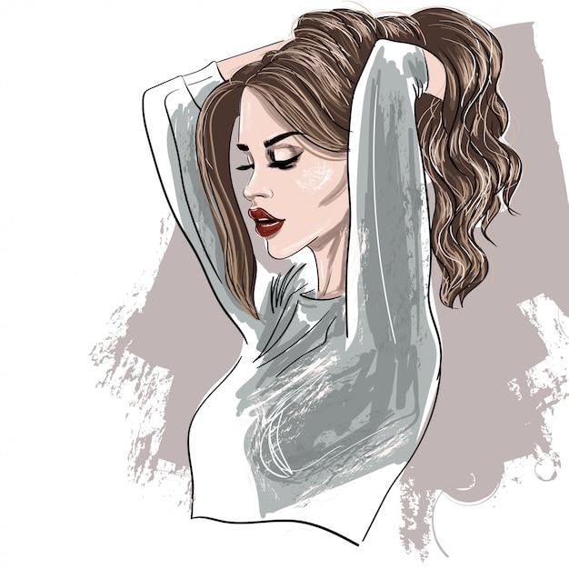 Retrato, de, perfil mulher, com, lábios vermelhos Vetor Premium