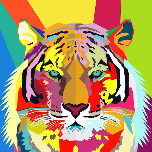 Retrato de pop art de tigre colorido Vetor Premium