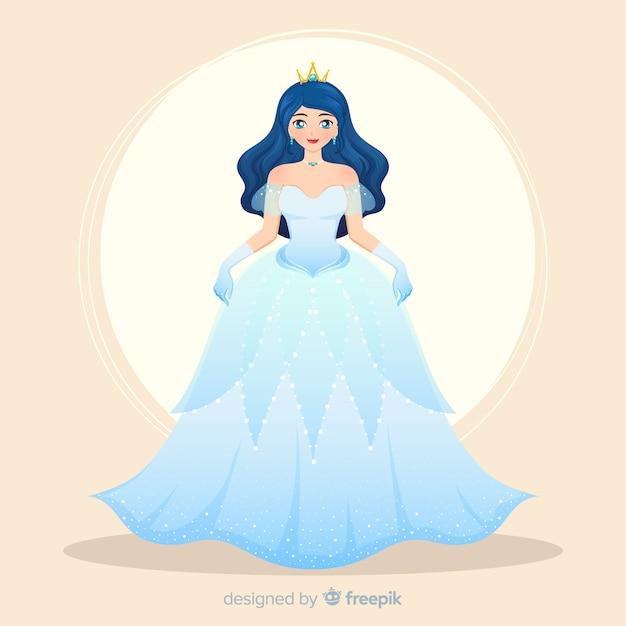 Retrato de princesa de cabelo preto desenhado de mão Vetor grátis