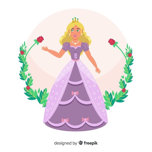 Retrato de princesa loira desenhada de mão Vetor grátis