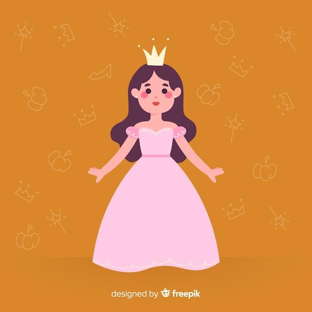 Retrato de princesa morena desenhada de mão Vetor grátis