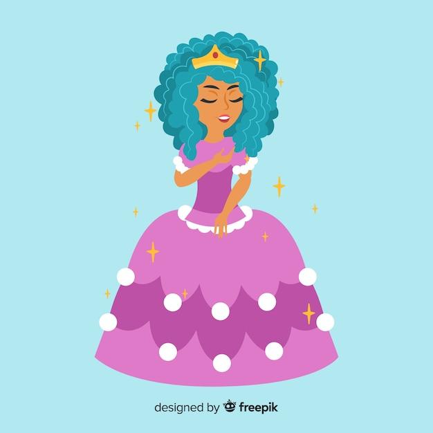 Retrato de princesa plana Vetor grátis