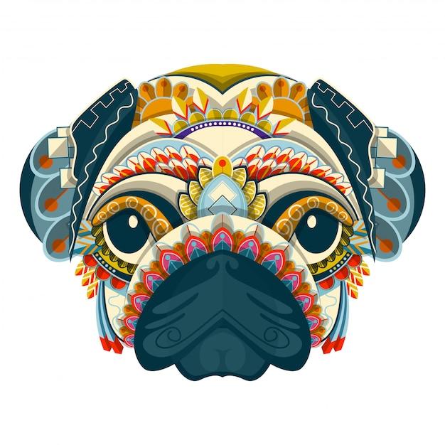 Retrato de pug colorido estilizado em fundo branco Vetor Premium