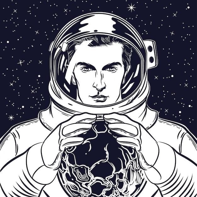 Retrato, de, um, astronauta, em, um, capacete Vetor Premium