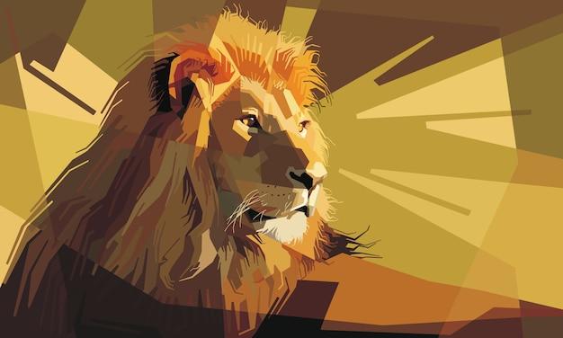 Retrato, de, um, atento, leão masculino, descansar Vetor Premium