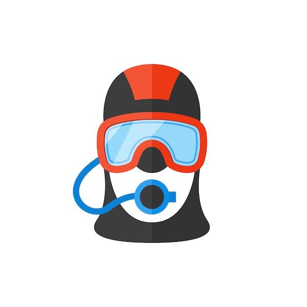 Retrato de um mergulhador. Vetor Premium