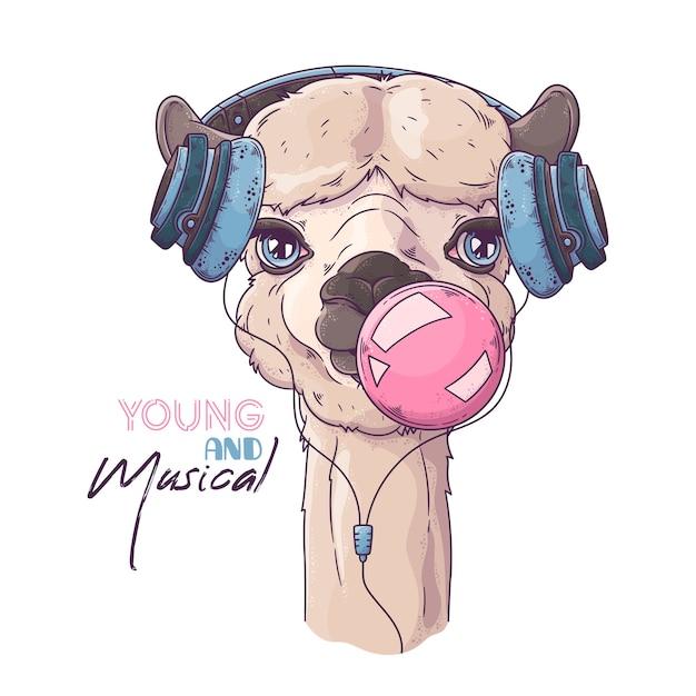 Retrato de uma alpaca fofa explodindo uma bolha de goma de mascar Vetor Premium