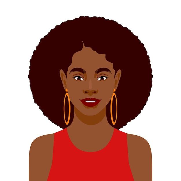 Retrato de uma linda mulher africana. Vetor Premium