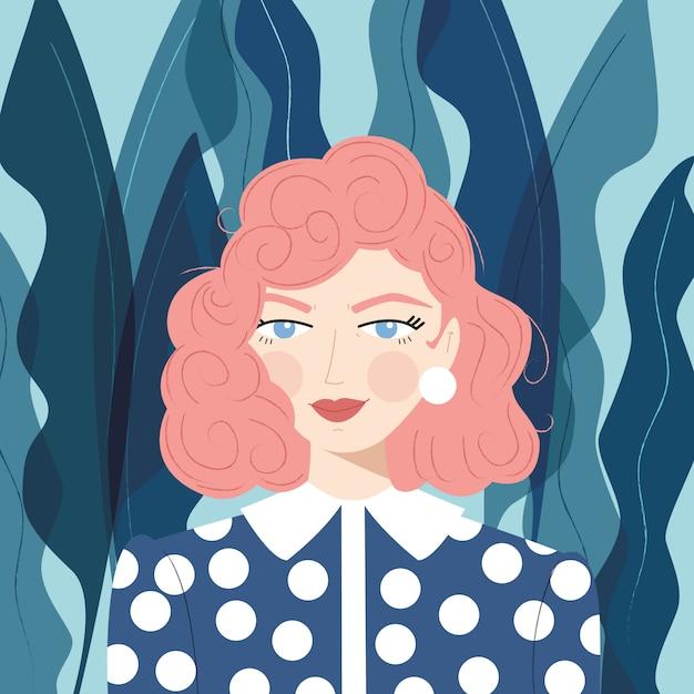 Retrato de uma menina com cabelo rosa Vetor Premium