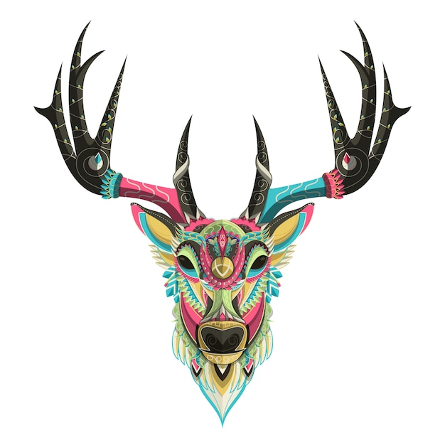 Retrato de veado colorido estilizado em fundo branco Vetor Premium
