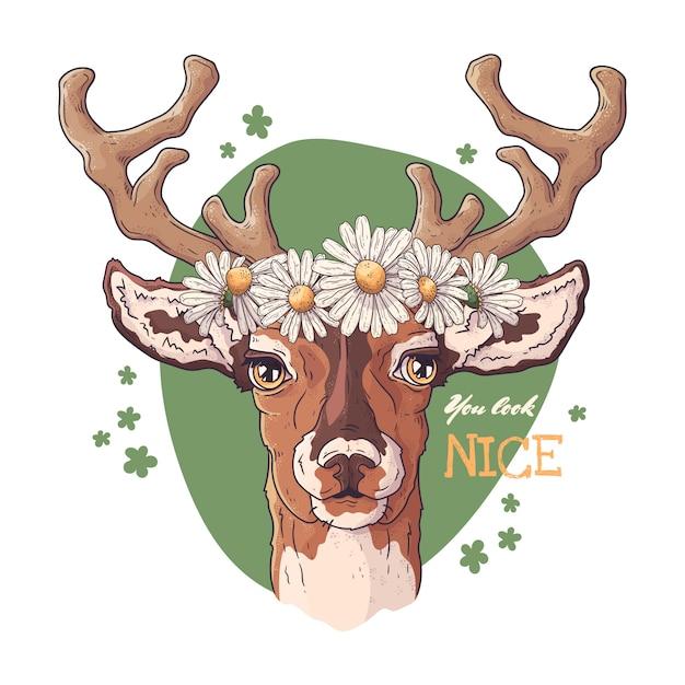 Retrato de veado com uma coroa de margaridas. Vetor Premium