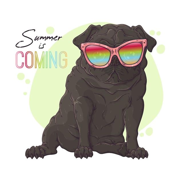 Retrato desenhado de mão do cão pug em copos bonitos Vetor Premium