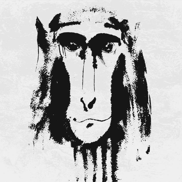 Retrato em aquarela de macaco peludo cinzento. Vetor Premium